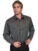 Embroidered Mens Western Shirts CHARCOAL