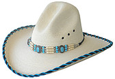 FINE WHITE PALM, GUS STYLE WITH TURQUOISE STITCHED EDGE & BRAIDED BEADED Cowboy Hat BAND.