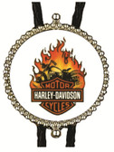 Harley Davidson on Fire Bolo Tie 1