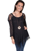 Black Lace Pullover Blouse with Embroidered Neckline-Gorgeous!