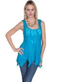 LADIES Blue Crochet Panel Top