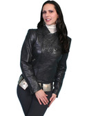 BLACK EMBOSSED LEATHER JACKET 62336