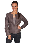 LADIES GREY LAMB JACKET 62380