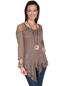 Ladies Cafe Lace Pullover Blouse with Embroidered Beaded Neckline!