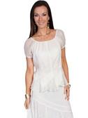 LADIES Ivory Multi Fabric Blouse
