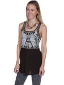 LADIES Chocolate Embroidered Tank