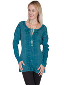 LADIES Long Sleeve Teal Embroidered Shirt