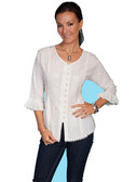 LADIES Ivory Multi Fabric Tonal Embroidered Blouse