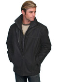 Leather car coat with removable knit front & collar. Side entry pockets. Import.BY SCULLY