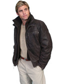 Leather jacket with zip-out knit front & collar. Zip hand pockets. Zip chest pockets. Zip cuffs. Acetate lining. Import.  BY SCULLY