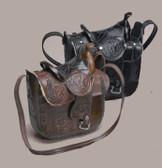 "Leather Saddle Purse - Black, 10"" x 9"""