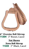 Leather & Rawhide Covered Stirrups 6 Inch Bell