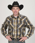 Mens Plain Black and Tan Western Shirt