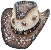 NEW! Straw Cowboy Hat - Pinch Front Dark Brown Brim
