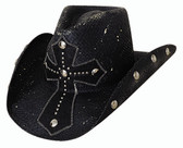 """No Mercy straw cowboy hat by Bullhide® Hats.  BLACK  Pecan.  Brim: 3 3/4""""  Available in sizes Small, Med, Large, XL."""