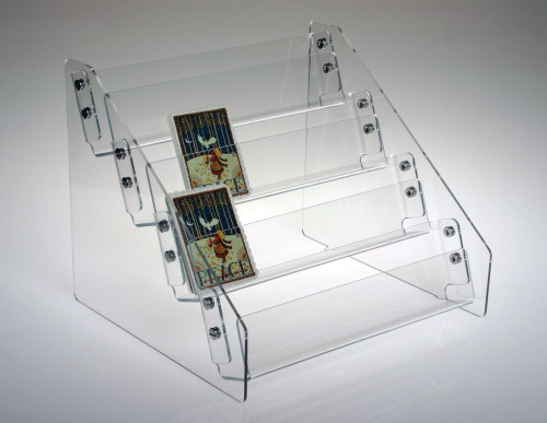 Clear Acrylic Four Tiered Countertop Rack Sized For Small Notecards Or Mini Books