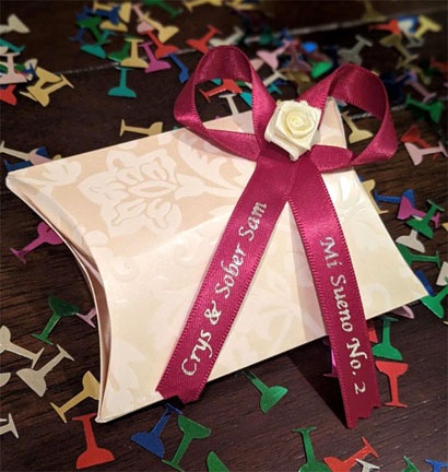 Wine Wedding Favor Ribbon