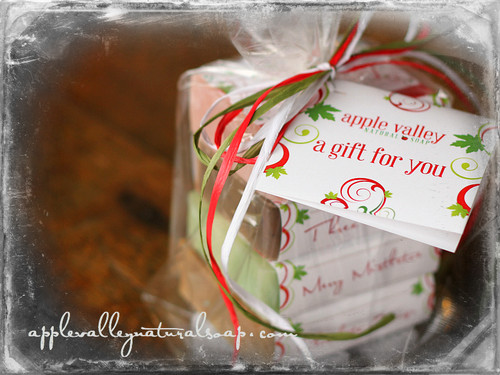 Christmas soap stack gift by Apple Valley Natural Soap