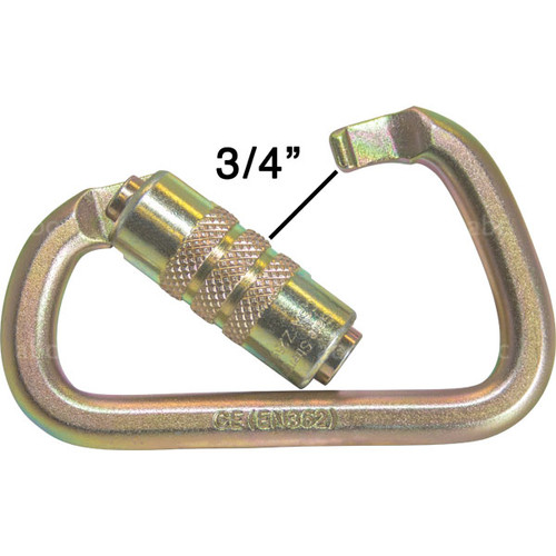 "Gold 3/4"" Gate Opening Auto Locking Steel Carabiner"