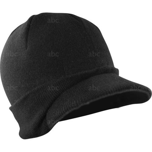 Head Wear - Black Visor Beanie - Each