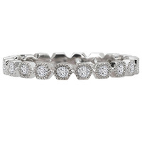 18KW RD DIA FANCY MILGRAIN    ETERNITY BAND D.30CTW, SIZE 6
