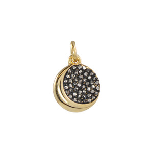 Moon Medallion Charm, Pave Crystal Gold
