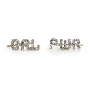 GRL PWR  Feminist Girl Power Climber - Crawler Earrings | Pave Crystal | Wildflower + Co.