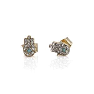 Hamsa Stud Earrings | Dainty Pave Gold | Wildflower + Co.