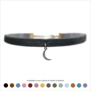 Crescent Moon Choker, Crystal & Hematite - Velvet or Leather