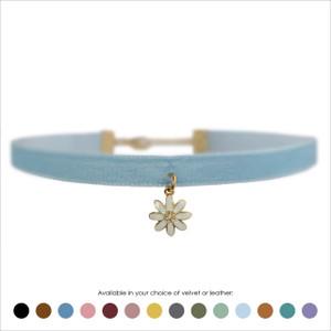 Daisy Choker, White & Gold - Velvet or Leather