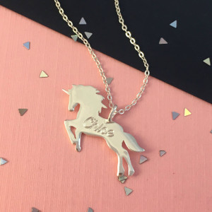 Unicorn Necklace - Gold Silver - Personalized - Engraved - Custom - Wildflower Co