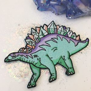 Crystal Stegosaurus Dinosaur Embroidered Patch Iron On Patches Flair - Wildflower + Co (1)