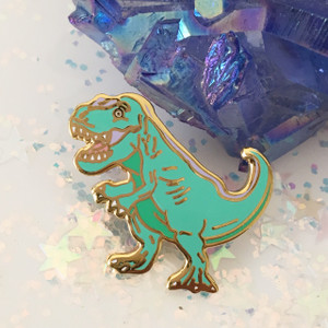 T Rex Dinosaur Enamel Pin - Green Pastel - Flair - Wildflower Co
