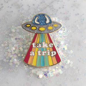 Take a Trip Enamel Pin Wildflower + Co. - UFO Alien Rainbow Trippy
