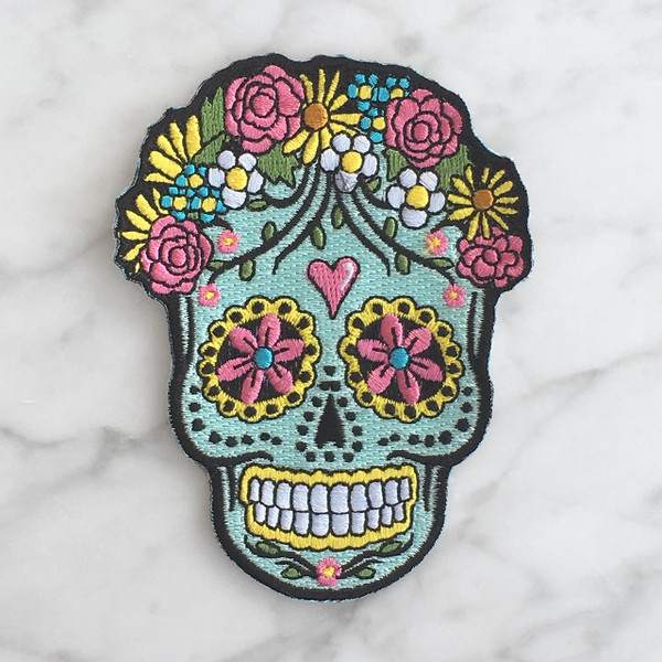 Sugar Skull Iron On Patch Patches Embroidered Applique