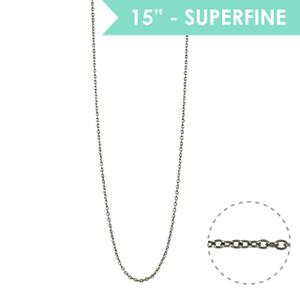 """Superfine 15"""" Chain Necklace, Hematite - Wildflower + Co."""
