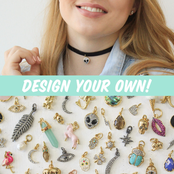 design your own leather choker - choice of charm - wildflower + co.