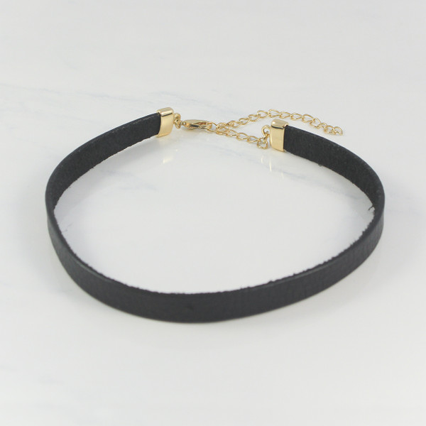 Very Personalized Black Leather Choker Necklace - Choice of Charm SJ76