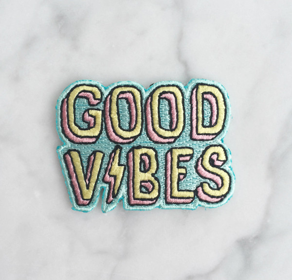 good vibes iron on patch patches embroidered applique