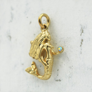 Mermaid Charm Pendant - Gold - Wildflower Co.2