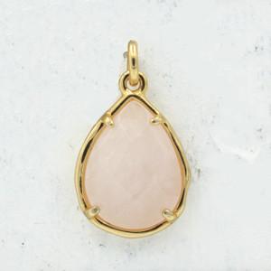 Rose Quartz Teardrop Briolette Pendant Charm - Gold - Faceted - Semiprecious Semi Precious Wildflower Co