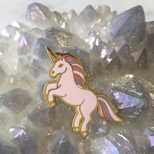 Pink Unicorn Enamel Pin - Pastel Pink - Enamel Pin - Flair - Lapel - Wildflower Co (1)