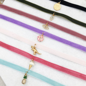 Velvet Choker Necklace w. Charm - Design Your Own Personalized - Black Pink Olive Green Baby Blue Lilac Blush Grey - Wildflower Co (2)