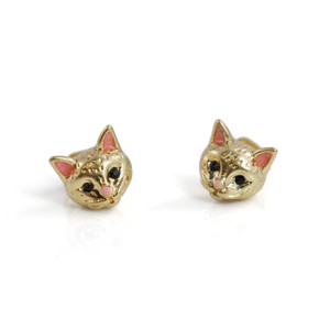 Kitten Stud Earrings | Gold Cat | Wildflower + Co. Jewelry