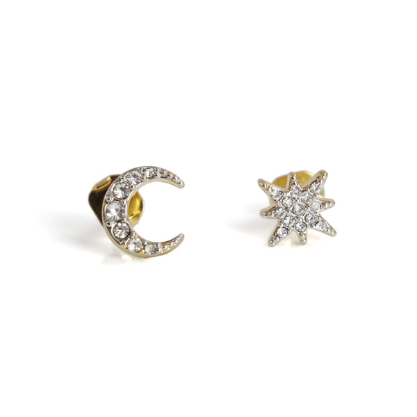 Moon & Star Stud Earrings   Dainty Pave Gold   Wildflower + Co.