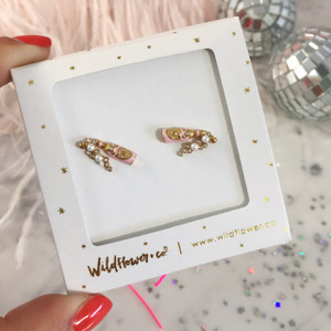 Rose Champagne Stud Earrings - Tiny Dainty Gold - Packaged - Wildflower Co