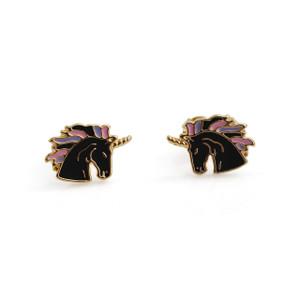 Unicorn Stud Earrings | Black & Gold | Wildflower + Co.