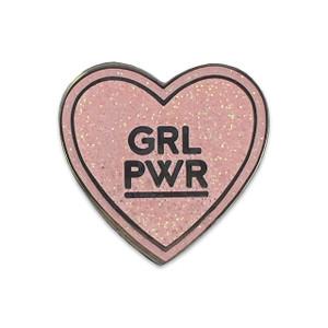 GRL PWR Pin |Pink Glitter Enamel Heart | Wildflower + Co.