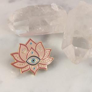 Lotus Evil Eye Enamel Pin - Flair Lapel Pin - Wildflower Co