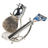 Parker 3 Piece Shave Set with Stainless Steel Fusion Compatible Razor Handle, Pure Badger Brush & Deluxe Stand